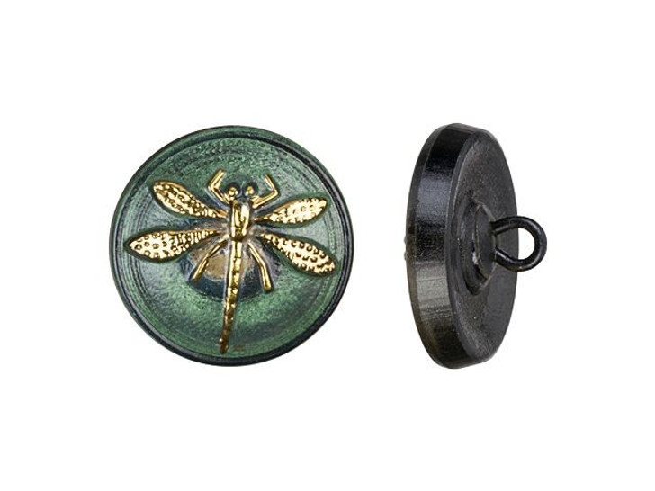 Czech Glass 18mm Tourmaline with Gold Finish Round Dragonfly Button by Raven's Journey
