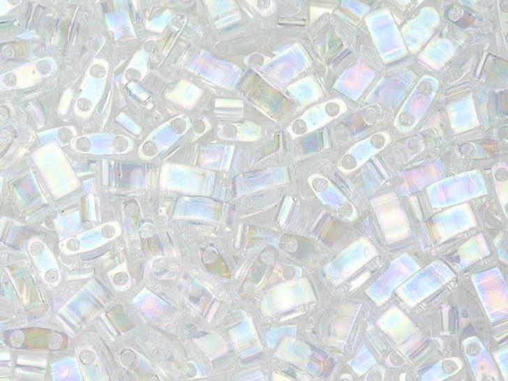Miyuki 5x2.3mm Transparent Rainbow Crystal Half Tila Bead 8g Pack