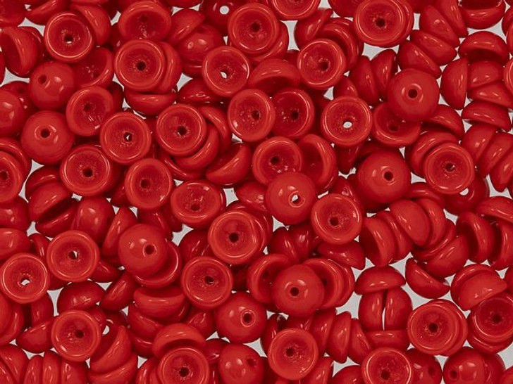 Czech Glass 2 x 4mm Opaque Red Teacup Bead 2.5-Inch Tube by Starman