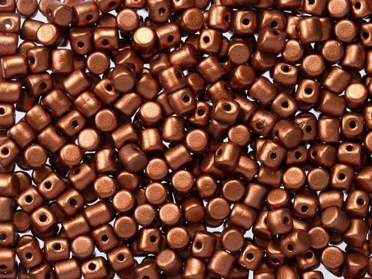 Czech Glass 2.5x3mm Matte Bronze Red Minos Par Puca Bead (10 gram pack)