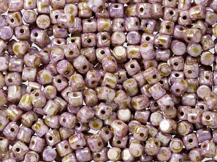Czech Glass 2.5x3mm Opaque Rose and Gold Ceramic Mixed Minos Par Puca Bead (10 gram pack)