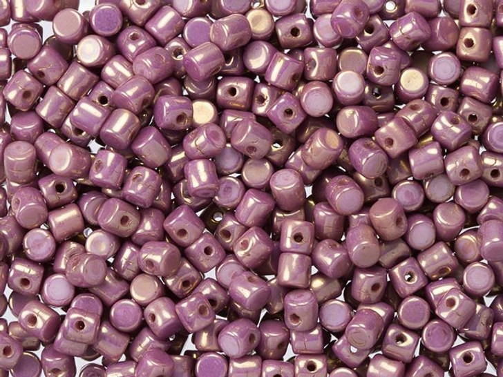 Czech Glass 2.5x3mm Opaque Violet and Gold Luster Mixed Minos Par Puca Bead (10 gram pack)