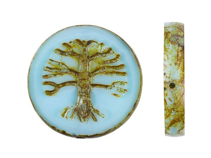 Czech Glass 22mm Sky Blue Silk with Picasso Finish Tree of Life Coin Bead by Raven's Journey