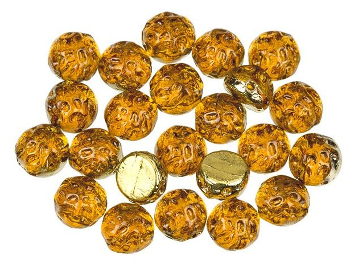 Czech Glass 2-Hole 7mm Backlit Amber/Topaz Baroque Cabochon Beads 10g Bag