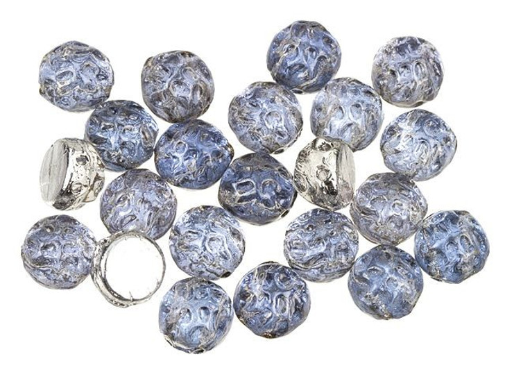 Czech Glass 2-Hole 7mm Backlit Periwinkle Baroque Cabochon Beads 10g Bag