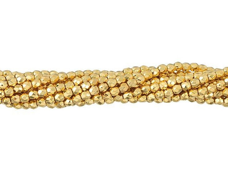 Czech Glass 2mm 24k Gold-Plated Fire-Polish Bead Strand by Starman