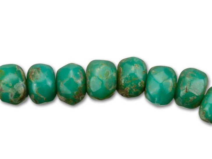 Czech Glass 2mm Turquoise Picasso Finish Faceted Roundel Bead Strand by Raven's Journey