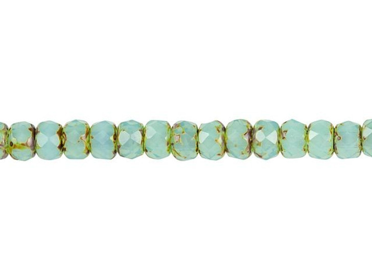 Czech Glass 3 x 5mm Aqua Blue Opaline with Picasso Finish Faceted Roundel Bead Strand by Raven's Journey