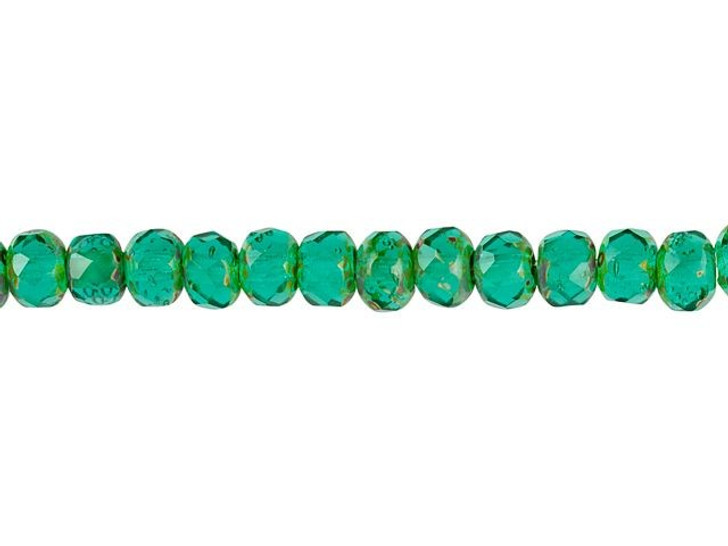 Czech Glass 3 x 5mm Transparent Emerald with Picasso Finish Faceted Roundel Bead Strand by Raven's Journey