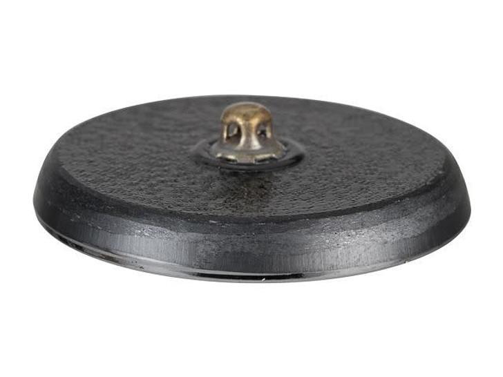 Czech Glass 32mm Round Triple Heart Leaf Button Jet with BlueGreen Wash Version 2