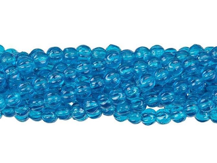 Czech Glass 3mm Capri Blue Melon Bead Strand by Starman
