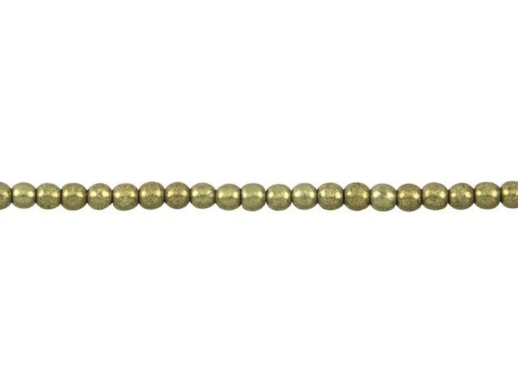 Czech Glass 3mm ColorTrends Saturated Metallic Golden Lime Round Bead Strand by Starman