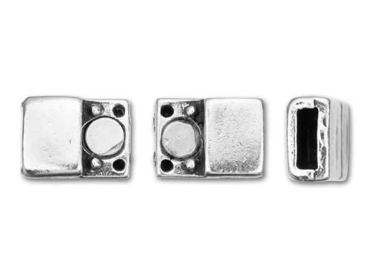 Regaliz 17x8mm Antique Silver-Plated Pewter Plain Magnetic Clasp Set