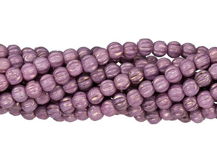 Czech Glass 3mm Luster Opaque Lilac Melon Bead Strand by Starman