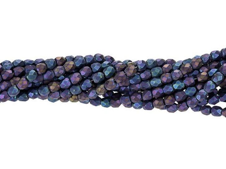 Czech Glass 3mm Matte - Iris - Blue Fire-Polish Bead Strand by Starman