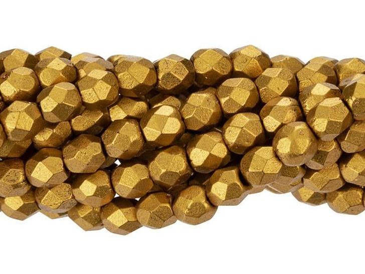 Czech Glass 3mm Matte - Metallic Antique Gold Fire-Polish Bead Strand by Starman