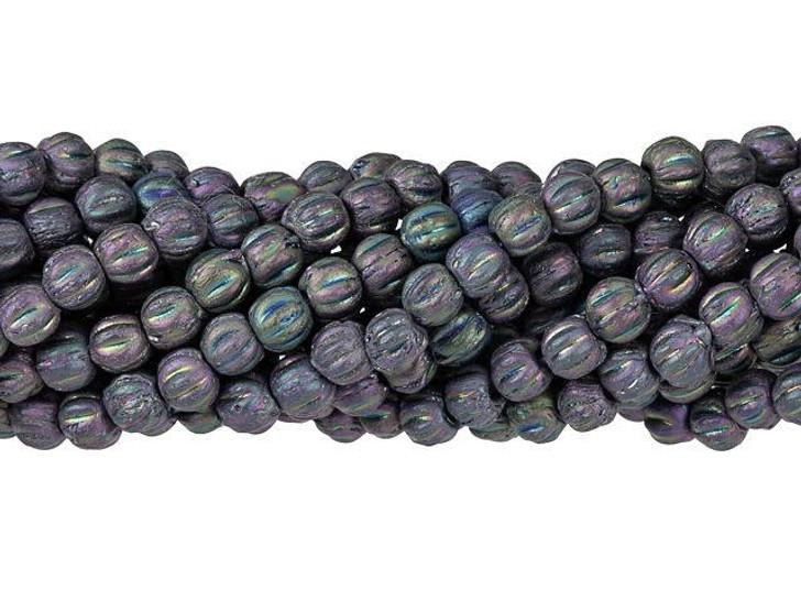 Czech Glass 3mm Matte Iris Purple Melon Bead Strand by Starman