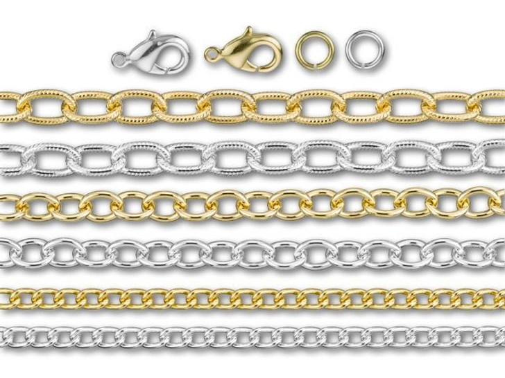 Silver and Gold Duo Chain Jewelry Kit