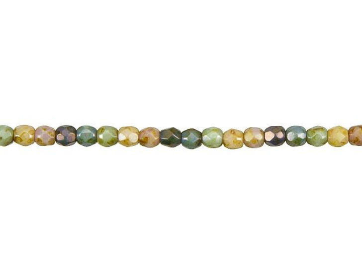 Czech Glass 3mm Opaque Natural Rainbow Mix with Stone Luster Faceted Round Bead Strand by Raven's Journey