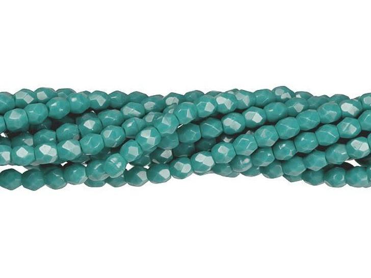 Czech Glass 3mm Persian Turquoise Fire-Polish Bead Strand by Starman