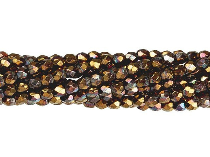 Czech Glass 3mm Siam Ruby - Bronze Vega Fire-Polished Bead Strand by Starman