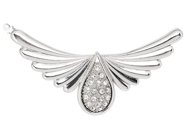 Silver-Plated Angel Wings Clasp with Swarovski Crystals