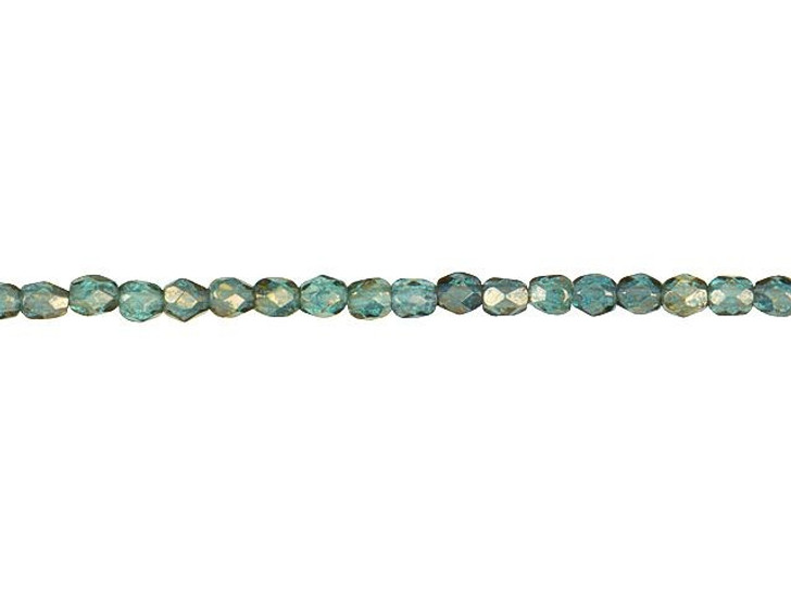 Czech Glass 3mm Transparent Aquamarine Green with Antiqued Gold Finish Faceted Round Bead Strand by Raven's Journey