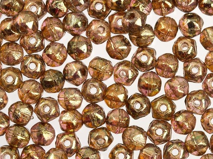 Czech Glass 3mm Transparent Rose Gold Topaz Luster English Cut Round Bead (50 pc Strand) by Starman