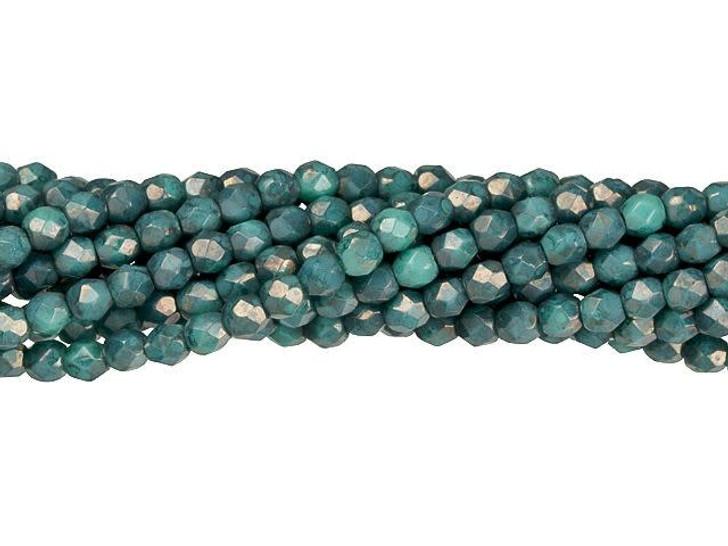 Czech Glass 3mm Turquoise - Moon Dust Fire-Polish Bead Strand by Starman