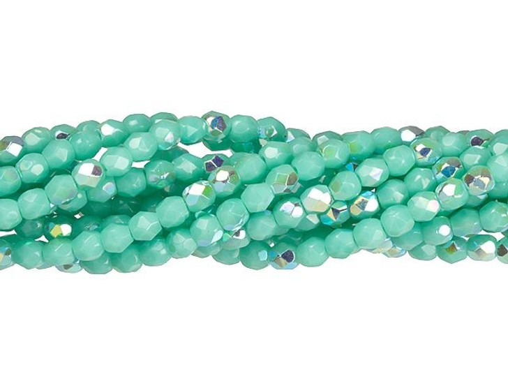 Czech Glass 3mm Turquoise AB Fire-Polished Bead Strand by Starman
