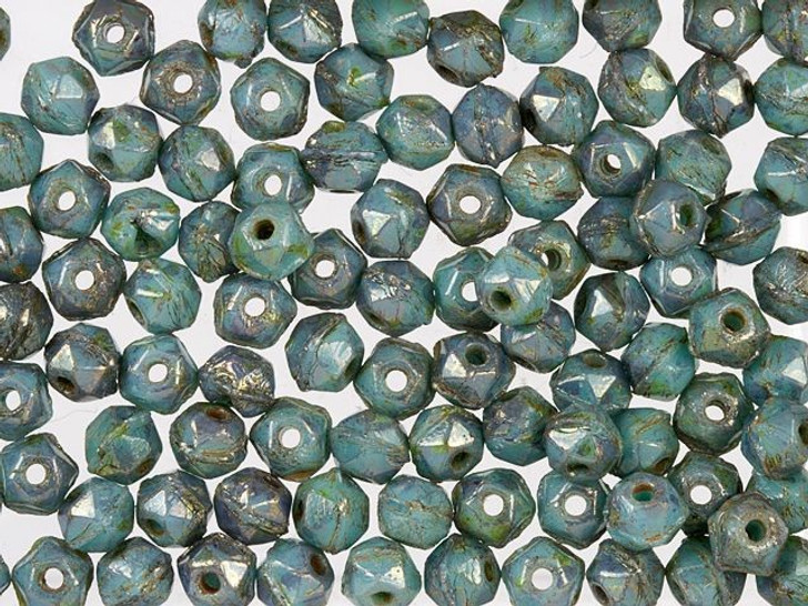 Czech Glass 3mm Turquoise Bronze Picasso English Cut Round Bead (50 pc Strand) by Starman