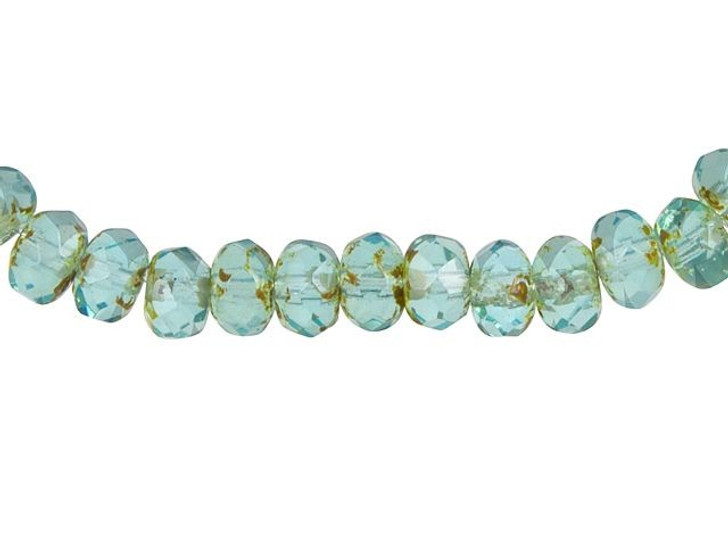 Czech Glass 3x5mm Aqua Blue Opaline with Picasso Finish Roundel Bead Strand by Raven's Journey