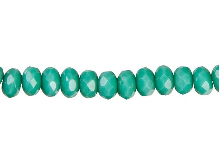 Czech Glass 3x5mm Opaque Turquoise Faceted Roundel Bead Strand by Raven's Journey