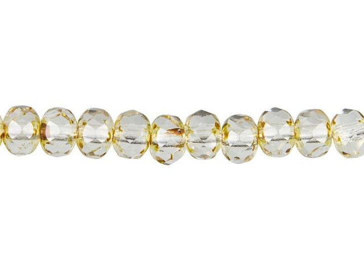 Czech Glass 3x5mm Transparent Crystal with Picasso Finish Faceted Roundel Bead Strand by Raven's Journey
