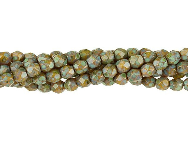 Czech Glass 4mm Chartreuse Picasso Fire-Polished Bead Strand by Starman