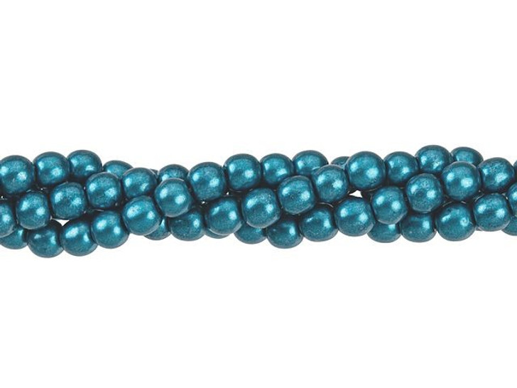 Czech Glass 4mm ColorTrends Saturated Metallic Quetzal Green Round Bead Strand (100pc Strand) by Starman