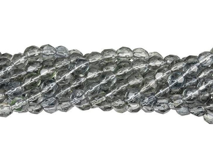 Czech Glass 4mm Hurricane Glass - Montana Blue/Black Diamond Fire-Polished Bead Strand by Starman