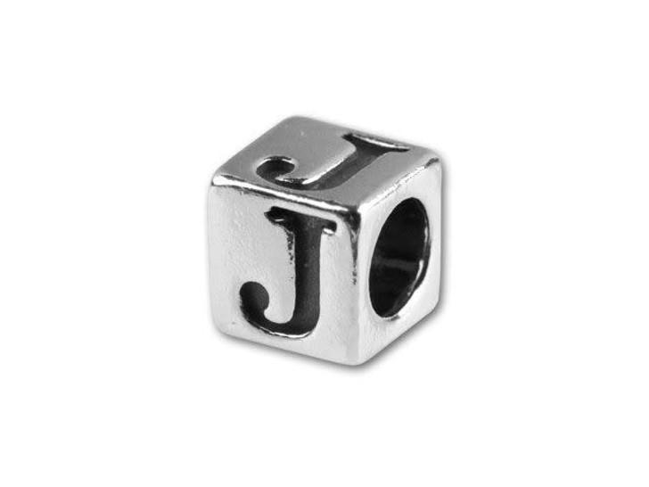 Sterling Silver 4.5mm Alphabet Bead - J