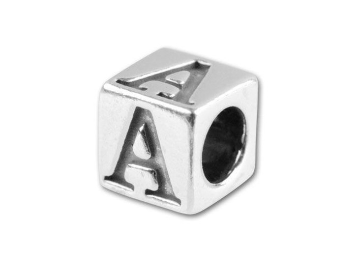 Sterling Silver 5.6mm Alphabet Bead - A