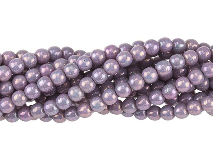 Czech Glass 4mm Luster Opaque Amethyst Round Bead Strand by Starman