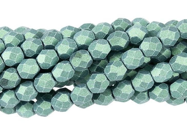 Czech Glass 4mm Metallic Suede Lt Green Fire-Polish Bead Strand by Starman