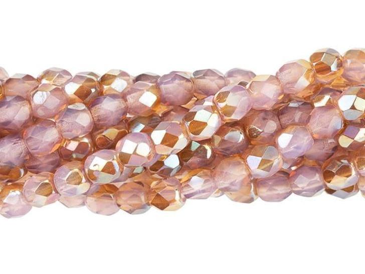 Czech Glass 4mm Milky Pink Celsian Fire-Polish Bead Strand by Starman