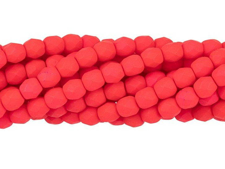 Czech Glass 4mm Saturated Red Fire-Polish Bead Strand by Starman