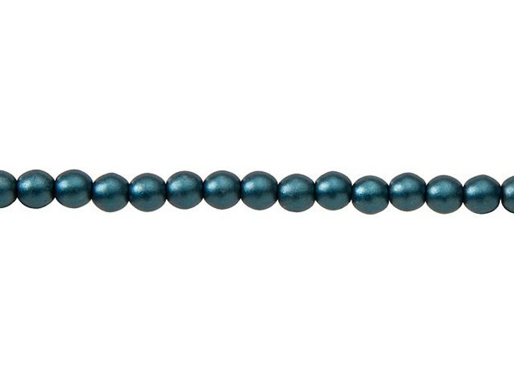 Czech Glass 4mm Steel Blue Round Glass Pearl Bead Strand by Starman