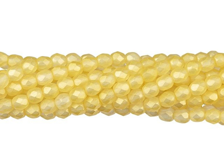 Czech Glass 4mm Sueded Gold Lamé Fire-Polish Bead Strand by Starman