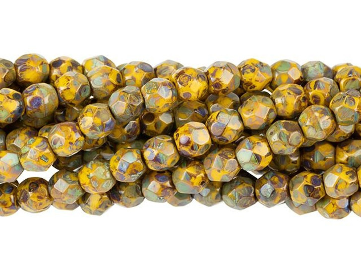 Czech Glass 4mm Sunflower Yellow Picasso Fire-Polished Bead Strand by Starman