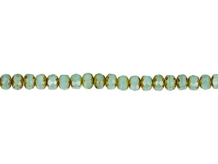 Czech Glass 5 x 3mm Aqua Green Opaline and Silk Mix with Picasso Finish Rondelle Bead Strand by Raven's Journey