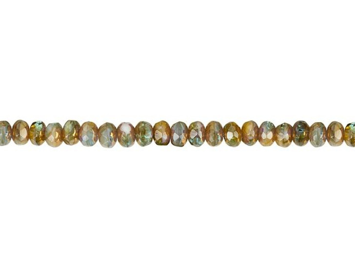 Czech Glass 5 x 3mm Blue, Aqua, and Ivory Mix with Bronze Finish Rondelle Bead Strand by Raven's Journey