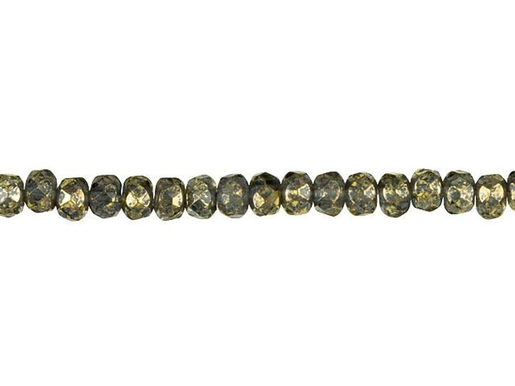 Czech Glass 5 x 3mm Transparent Montana Blue with Antiqued Gold Finish Rondelle Bead Strand by Raven's Journey