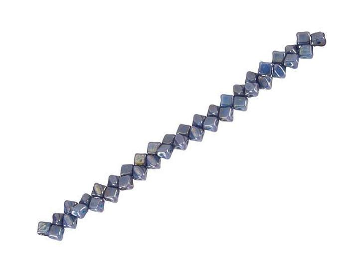 Czech Glass 5mm Blue Turquoise Luminescent 2-Hole Silky Diamond Bead Strand